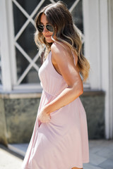 Babydoll Dress in Mauve Side View