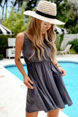 Charcoal - Dress Up model wearing a Babydoll Dress with a sun hat