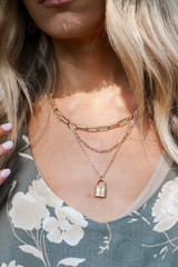 Gold - Layered Lock Necklace
