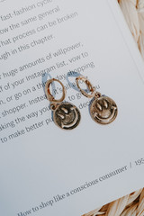 Gold - Smiley Face Hoop Earrings from Dress Up