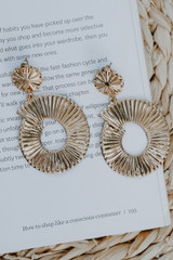 Gold - Textured Statement Drop Earrings from Dress Up