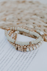 Flat Lay of the Natural Beachy Vibes Beaded Bracelet Set