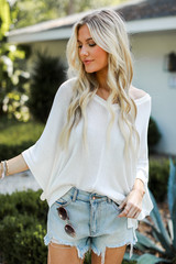 White - Oversized Knit Top Front View