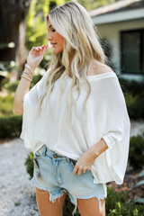 White - Oversized Knit Top Front View on model