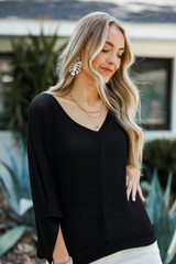 Oversized Knit Top in Black Front View