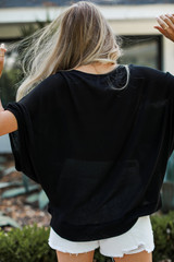 Oversized Knit Top in Black Back View