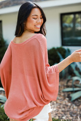 Oversized Knit Top in Coral Back View