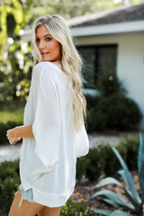 Oversized Knit Top in White Side View