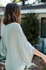 Oversized Knit Top in Mint Side View