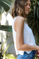 Sweater Tank in White Side View