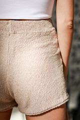 Knit Shorts in Taupe Back View