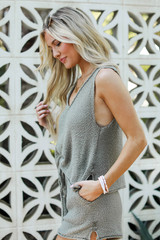 Knit Tank in Olive Side View