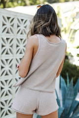 Knit Tank in Taupe Back View