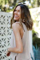 Knit Tank in Taupe Side View