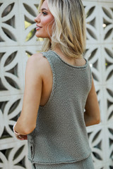Knit Tank in Olive Back View