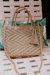 Straw Crossbody Bag Front View