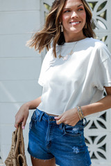 Cropped Tee in Light Grey Side View