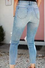 High Waist Distressed Skinny Jeans Back View