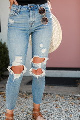 High Waist Distressed Skinny Jeans Front View