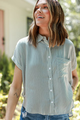 Striped Button-Up Top Front View