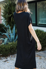 Jersey Maxi Dress in Black Back View