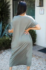 Jersey Maxi Dress in Olive Back View