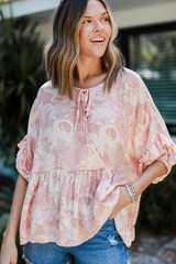 Coral - Floral Babydoll Blouse
