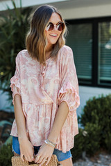 Coral - Floral Babydoll Blouse from Dress Up