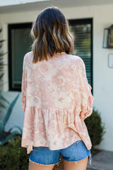 Floral Babydoll Blouse Back View
