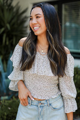 Model wearing a Cropped Floral Blouse