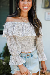 Cropped Floral Blouse Front View
