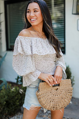Dress Up model wearing a Cropped Floral Blouse