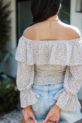 Cropped Floral Blouse Back View
