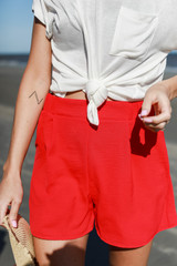 Red - Model wearing Shorts