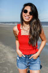 Red - Dress Up model wearing a Smocked Ruffle Crop Top