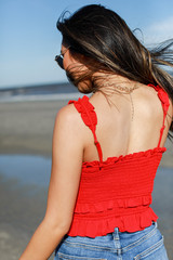 Smocked Ruffle Crop Top in Red Back View