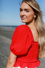 Red - Dress Up model wearing a Puff Sleeve Top