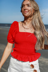 Red - Model wearing a Puff Sleeve Top