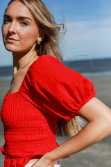 Puff Sleeve Top in Red Side View