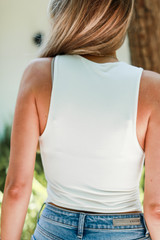Everyday High Neck Tank in White Back View