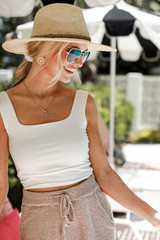 White - Model wearing the Everyday Cropped Tank
