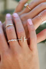 Close Up of a Silver Ring Set