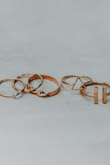 Flat Lay of a Gold Ring Set