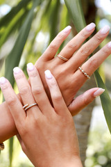 Model wearing a Gold Dainty Ring Set