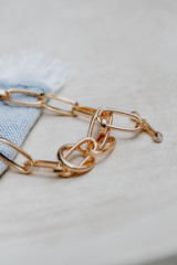 Flat Lay of a Gold Chain Necklace