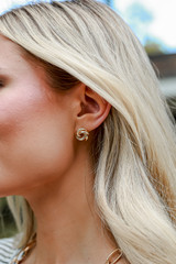 Dress Up Model wearing Gold Knotted Stud Earrings