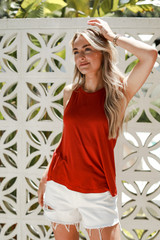Rust - Dress Up model wearing an Everyday Tank with white shorts