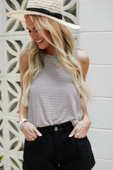 White/Black - Model wearing an Everyday Tank with a straw hat