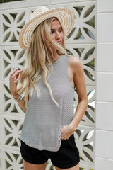 White/Black - Dress Up model wearing an Everyday Tank with a straw hat