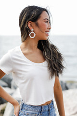 Scoop Neck Crop Top in White Side View